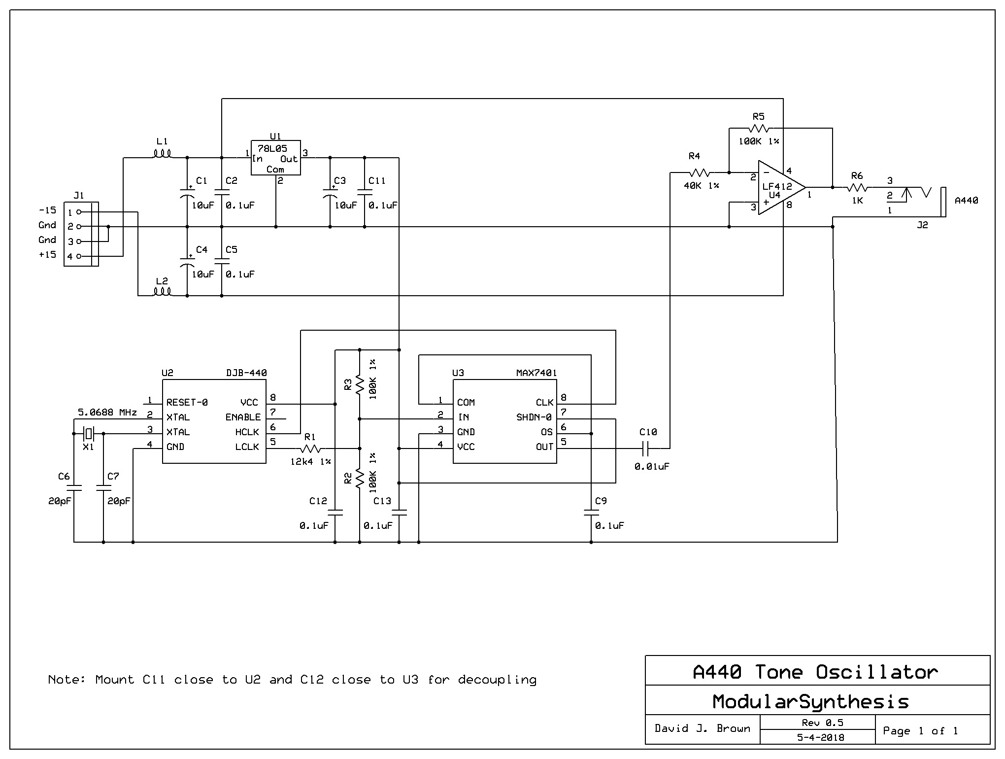 Modularsynthesis A440 Oscillator Crystal Circuit Schematic Diagram Djb Reference